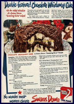 Chocolate whirlaway cake recipe Chocolate cake and gold cake are both star hits. So make it a night of stars with this lucious, two-toned Chocolate Whirlaway Cake! 2-1/2 cups sifted cake flour 1-1/…