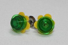 Lego Yellow Flower Petal and Trans Green Stud Earrings
