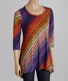 Purple & Rust Stripe Sidetail Top - $24.99