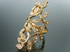 Golden foliage leaf carved diamond ring [scml2104] - $4.99 : Fashion jewelry promotion store,Supply all kinds of cheap fashion jewelry