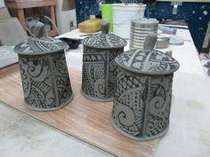 Creative with clay: Pottery by Charan Sachar: Handbuilt Lidded jars/ mugs
