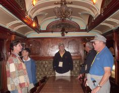 Visitors taking our Wings, Wheels & Rails behind the scenes tour check out the interior of the Loretto, a private rail car once owned by Charles Schwab.  The Loretto is on exhibit in the Bob Julian Roundhouse at the N.C. Transportation Museum in Spencer.