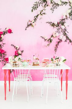 A Tea Party with BHLDN! Of course loving that pink wall ;)