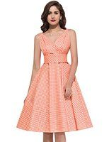 GRACE KARIN Women V-neck Vintage Dress 50s Swing Tea Dresses CL6295