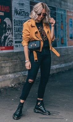 jeans outfit night Mustard yellow moto jacket with black ripped jeans and cutout black booties and . Mustard yellow moto jacket with black ripped jeans and cutout black booties and graphic t-shirt. Rose Gold watch, black cross body bag and sunglasses. Comfy Fall Outfits, Fall Winter Outfits, Casual Winter, Rock Fall Outfits, Glam Rock Style Outfits, Guy Summer Outfits, Boho Spring Outfits, Winter Style, Look Winter