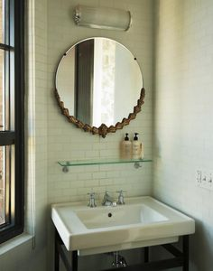 round mirrors in the bathroom    White Heat in Brooklyn: The Wythe Hotel Remodelista