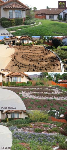 Turf removal and drought tolerant landscape install. Using ceanothus, creeping morning glory, palo verde, manzanita. Roof water is fed into the meandering dry streambed. Check us out at https://ecologyartisans.com