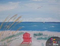 Paint Nite Stlouis | The Old Spaghetti Factory - Chesterfield / 'Beach Daze 1' by Diana Prusik / 02/26/2015 / Moderate difficulty :( too tough for me :(
