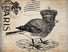 Antique Crown Bird French France Digital Download for Tea Towels, Papercrafts, Transfer, Pillows, etc Burlap No 5903. $1.00, via Etsy.
