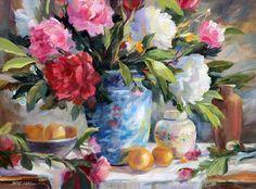 Flower Vases, Flower Art, Wonderful Flowers, Bouquet, Garden Painting, Painting Gallery, Arte Floral, Botanical Prints, Art Oil