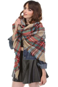 plaid blanket scarf - beige, red, or mustard | don't miss out on the most trendy accessory this season! put on some leggings, a tunic, booties and a panama hat to complete the look! one size | ELEVALE