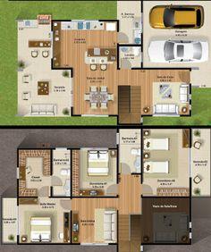 projetos casas 2 andares 4 quartos - Pesquisa Google