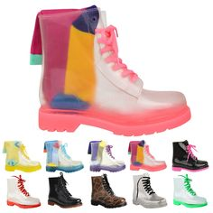 Amazon.com: Fashion Thirsty Womens Flat Lace Up Clear Festival Jelly Wellies Low Ankle Rain Boots Shoes Size: Shoes