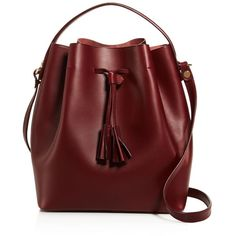Celine Lefebure Karin Bucket Bag (1.954.185 COP) ❤ liked on Polyvore featuring bags, handbags, shoulder bags, burgundy purse, genuine leather shoulder bag, leather handbags, red bucket bag and genuine leather handbags