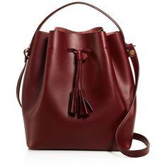 Celine Lefebure Karin Bucket Bag (2.560 RON) ❤ liked on Polyvore featuring bags, handbags, shoulder bags, burgundy, red bucket bag, red handbags, red purse, genuine leather handbags and leather bucket bag