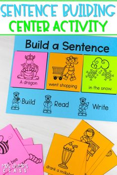 Engaging sentence building activity to teach your students about sentences and their parts. The perfect addition to your literacy centers in kindergarten and first-grade!