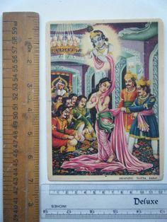 Dropadi Vastra Haran Mahabharat Vintage Old Art Print Religious Rare #1348