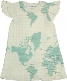 Map dress - SO CUTE- see hearts over origin country and home