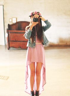 Pink High-Low Dress & Denim Jacket