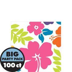 Hibiscus White Beverage Napkins 100ct