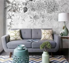 Skizze Blumen Tapete Schwarz-Weiss Wandbild von DreamyWall auf DaWanda.com