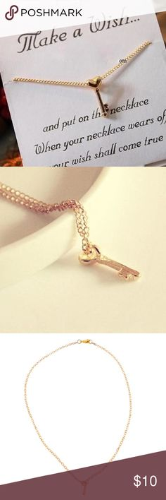 Cute Heart Key Necklace Gold Plated. 100% Brand new and good quality. Jewelry Necklaces