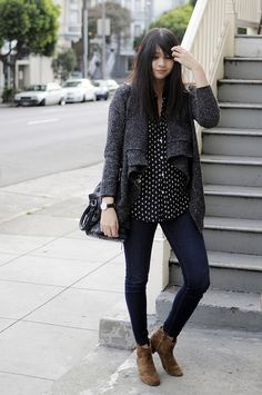 Ankle boots, dark blue skinny jeans, polka dot blouse and grey jacket
