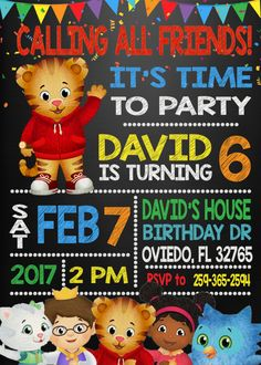 Daniel Tiger Birthday Invitation  This listing includes 1 personalized printable photo birthday invitation. You will not receive anything in the mail, this is for a DIGITAL file only. You send me your information, I customize, you print. Follow the simple instructions below to place an order.  THE SIZE IS 5x7.  When purchasing please put in NOTE TO SELLER this information: 1. Name 2. Age 3. Date of the Party 4. Time of the Party 5. Address of the Party 6. RSVP info  After receiving this…