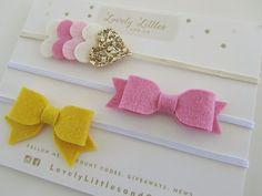 The TALLULAH COLLECTION!  Baby/Girl Pink, Yellow felt bow elastic headband and heart set.