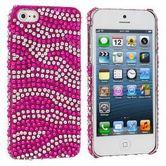 Hot Pink / Silver Zebra Bling Rhinestone Case Cover for Apple iPhone 5 / 5S