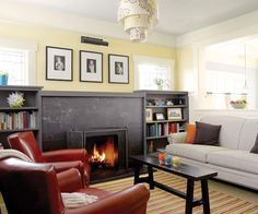 Photo: Alex Hayden | thisoldhouse.com | from Creating Order in a Craftsman Bungalow - love everything about this remodel; living room renovation - new fireplace, shelving