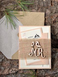 Custom listing (20) Rustic Wedding Invitation, Peach Wedding Invitation, Birds Invitation, Wood Wedding Invitation, 4lovepolkadots