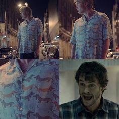 Hannibal. Hugh Dancy (Will Graham). Well, jokes about dogs...again.