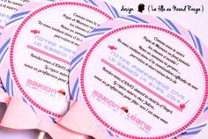 La fille au Noeud Rouge - Faire-part Gourmandise naissance, baptême, baby shower #personnalisé #fairepart #sucette #gourmand #rose #parme #bonbons #invitation #baptême #lafilleaunoeudrouge