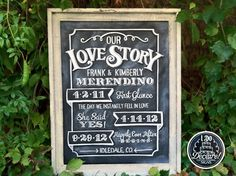 anniversary chalk boards | Custom Anniversary Chalkboard Our Love Story Sign. $115.00, via Etsy.