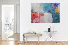 Large Abstract Painting, Colorful Modern Artwork For White Interior, Pink Blue,White Purple Yellow, Grey Orange, Modern Art 100 x 70 cm by AjdinovicStudio on Etsy