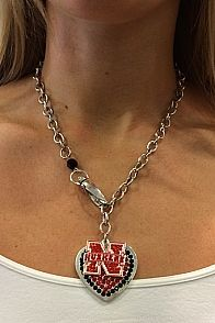 Silver Husker Heart Necklace