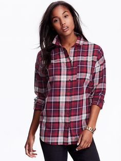 Boyfriend Plaid Flannel Shirt Product Image