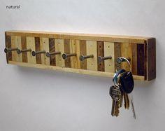 Recycled Wood 8 Hook Key Rack Jewelry Rack by SixFingerStudios, $35.00