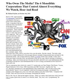 Who Owns The Media? The 6 Monolithic Corporations That Control Almost Everything We Watch, Hear And Read  INFOWARS.COM  BECAUSE THERE'S A WAR ON FOR YOUR MIND