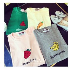 summer women t shirt t-shirt women's tee tops female sweet fruit print soft cotton t shirts with prints femme blusas S22275 #Discount #Clothing