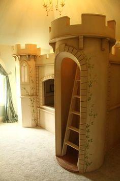 Oak Double Full Size Mattress Loft Bed With Walk In Closet