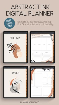 Digital Planner with Hyperlinked Tabs for Goodnotes and Notability on iPad and tablets Goals Planner, Blog Planner, Weekly Planner, Planner Tabs, Project Planner, Planner Template, Printable Planner, Daily Planner Pages, Digital Journal