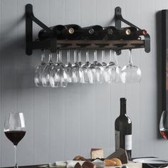 Union Rustic Stowe 5 Bottle Solid Wood Wall Mounted Wine Bottle and Glass Rack in Walnut Finish: Walnut Hanging Wine Glass Rack, Wine Glass Storage, Wine Glass Holder, Liquor Storage, Wine Bottle Rack, Bottle Wall, Bottle Holders, Tabletop, Wood Wine Racks