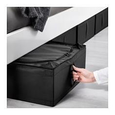 """IKEA - SKUBB, Storage case, black, 17 ¼x21 ¾x7 ½ """", $5, Easy to pull out as the storage case has a handle on the side.Protects your clothes from dust.Your stored clothes and textiles stay fresh longer, as ventilation nets in the corners allow air to circulate."""