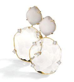 Earrings in 18k white and yellow gold with round diamonds, smokey quartz and morganite topaz.