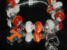 Euroean Charm bracelet Tennessee Vols by OnIslandTimeJewelry, $34.00