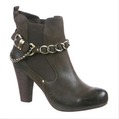"""The Nicole """"Mambo"""" bootie embraces the biker-chic trend with removable chains, and rich leather."""