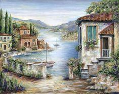 Tuscan Villas By The Lake Art Print by Marilyn Dunlap - Malerei Kunst Belle Image Nature, Frame My Photo, Lake Painting, Painting Art, Photo Vintage, Lake Art, Beach Landscape, Jolie Photo, Painting Inspiration
