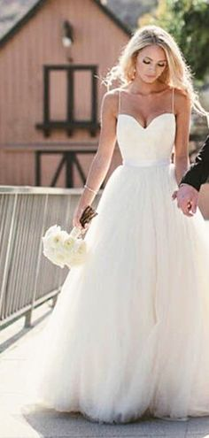 Simple Spaghetti Straps Layers Tulle Ball Gown Wedding Dress #wedding #dress #gown